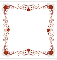 Delicate frame with poppy flowers vector