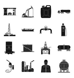 Design of oil and gas sign set of oil and vector