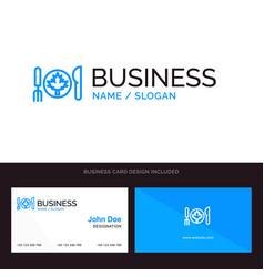 Dinner autumn canada leaf blue business logo and vector