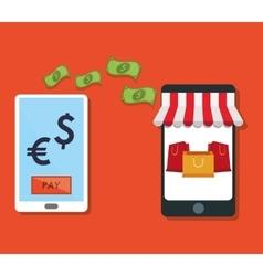 E-commerce smartphone tranfer money payment vector