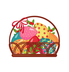Easter icon with basket full of colored eggs vector