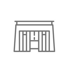 egyptian tomb pharaoh sarcophagus line icon vector image