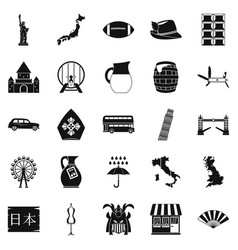 explore the country icons set simple style vector image