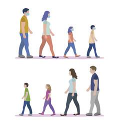 Family walking mask vector