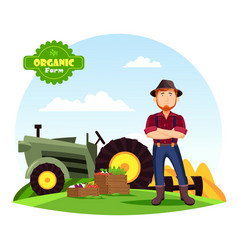 farmer near vegetables on farm and tractor vector image