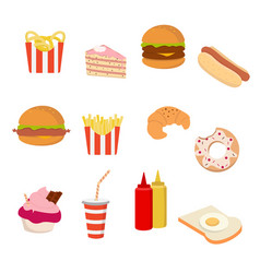 fast food icon set on white background for graphic vector image