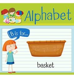 Flashcard letter B is for basket vector