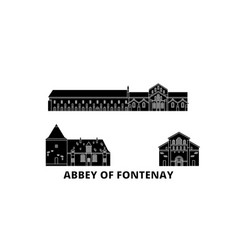 France abbey of fontenay flat travel skyline set vector