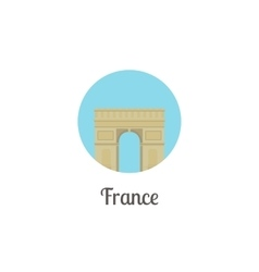 France arch landmark isolated round icon vector image