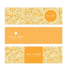 Golden lace roses horizontal banners set pattern vector
