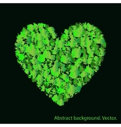 Green heart with abstract textures Love and vector image
