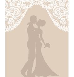 Groom and bride on beige background vector