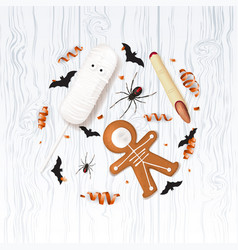 Halloween festive background with treats vector