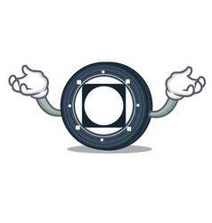 Hand up byteball bytes coin character cartoon vector