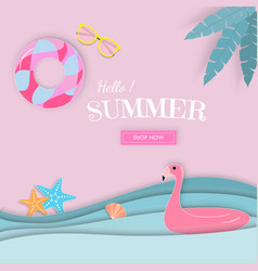 hello summer paper art sale banner vector image