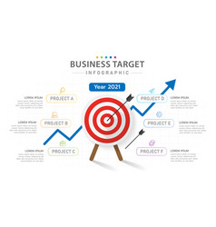 infographic modern target diagram with projects vector image