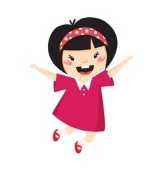 Japan girl jumping vector