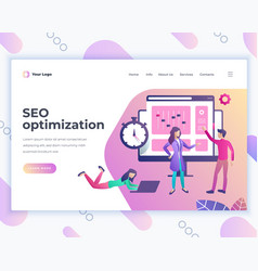 landing page template seo optimization concept vector image
