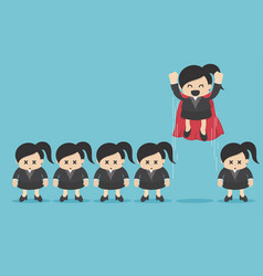 Leader among the crowd concept superhero business vector