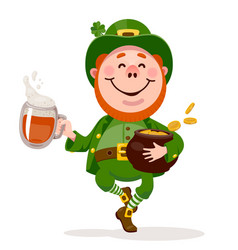 Leprechaun dancing with a beer and a pot gold vector