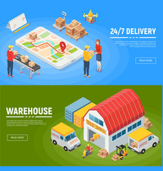 Logistics horizontal banners vector