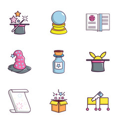 Magic stuff icons set flat style vector
