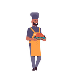 male professional chef cook holding tray with vector image