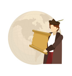 Man christopher with perchment and global map vector
