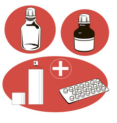 Medical set medical objects vector
