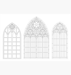 Medieval gothic contour window medieval gothic vector