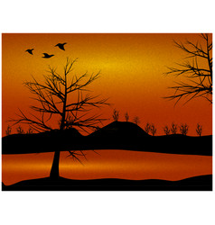 Nature countryside view with trees and ducks vector