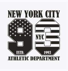 new york print with number in usa flag style vector image