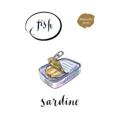 Open preserve sardine vector