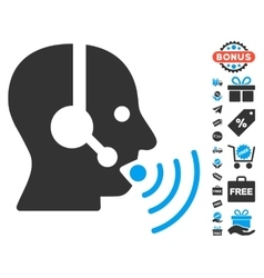 Operator Talking Sound Waves Icon With Free Bonus vector