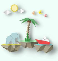 Origami elephant ship and 3d fly island vector