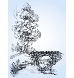 Park sketch a stone bridge over river in the vector image