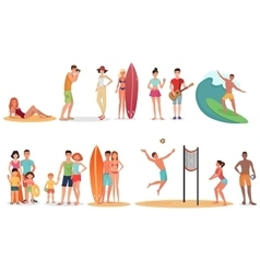 People and couples on vacation beach collection vector image