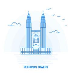 petronas towers blue landmark creative background vector image