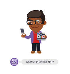 Photographer cartoon character with instant camera vector