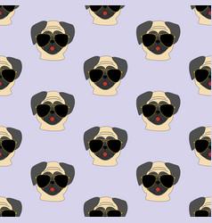 Pug dog in glasses pattern vector