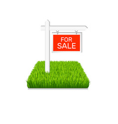 real estate icon sign on green grass isolated vector image