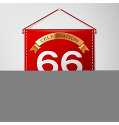 Red pennant with inscription sixty six years vector