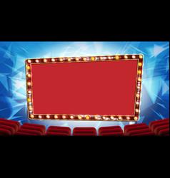 Retro cinema banner light bulbs red vector