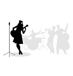 Retro singer woman guitarist silhouette with vector