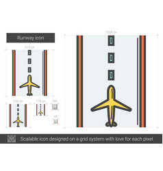 Runway line icon vector