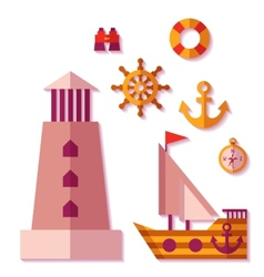sea travel icons in flat style vector image