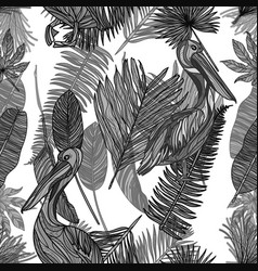 seamless tropical mochrome pattern vector image