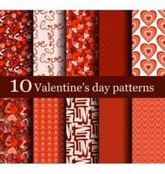 set 10 seamless valentine day patterns vector image
