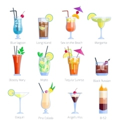 set alcoholic cocktails isolated on white vector image