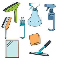 set of glass and mirror cleaner vector image
